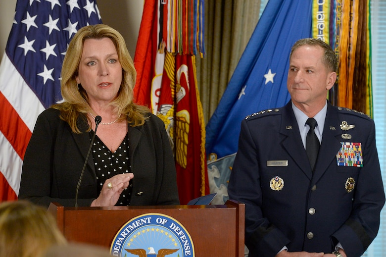 Air Force Secretary Deborah Lee James speaks at the Defense Department's announcement of Air Force Vice Chief of Staff Gen. David L. Goldfein's nomination as the Air Force's 21st chief of staff at the Pentagon in Washington, D.C., April 29, 2016. (U.S. Air Force photo/Scott M. Ash)