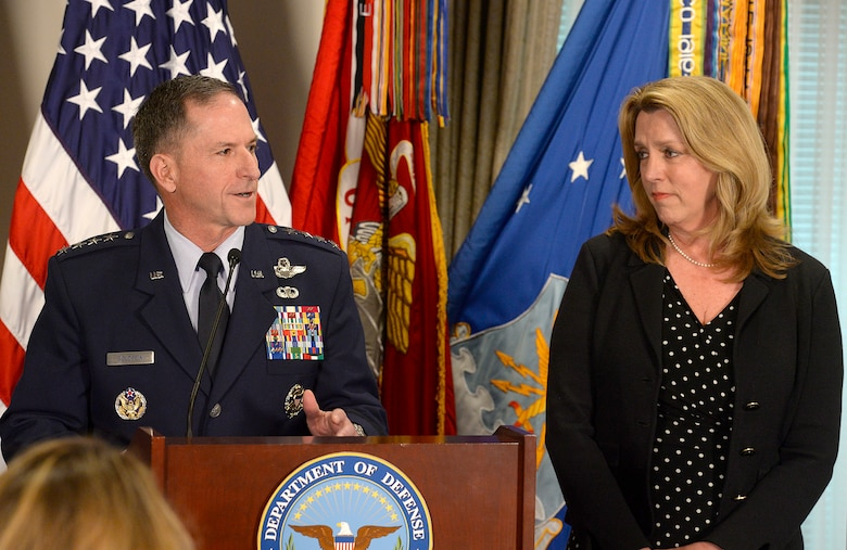 Air Force Vice Chief of Staff Gen. David L. Goldfein thanks Air Force Secretary Deborah Lee James during the Defense Department's announcement of his nomination as the Air Force's 21st chief of staff at the Pentagon in Washington, D.C., April 29, 2016. (U.S. Air Force photo/Scott M. Ash)