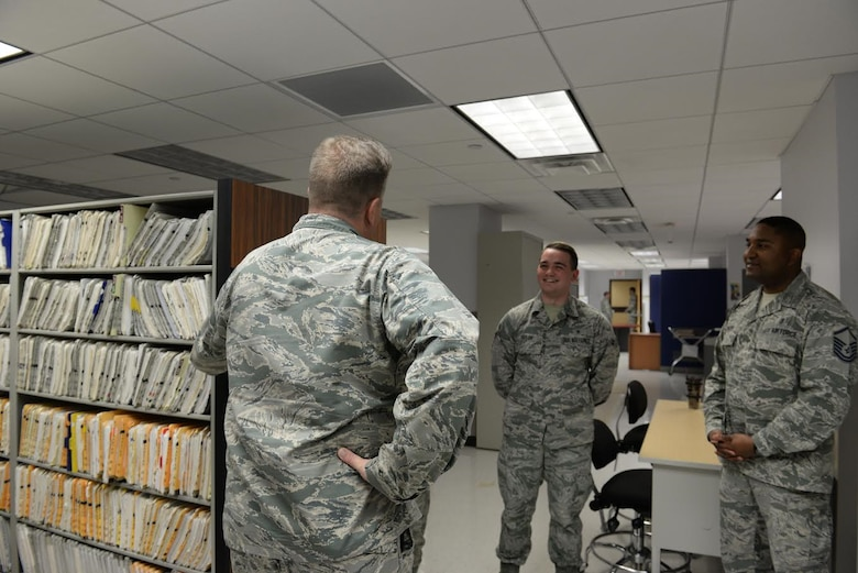 Col. Timothy MacGregor, Air Education and Training Command Inspector General's office Inspection Division chief, visits with medical administration specialist airmen at the 82nd Medical Group, Sheppard Air Force Base, Texas, April 22, 2016. MacGregor, while at Sheppard for an inspection of the 82nd Training Wing and 80th Flying Training Wing, makes it a point to visit the airmen that are in the same career field that he started in over 30 years ago as a reminder of where his career began.