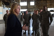 Air Force Secretary Deborah Lee James discusses diversity within the ranks with Airmen from the 92nd and 141st Maintenance Groups on April 27, 2016, at Fairchild Air Force Base, Wash. James visited the base to familiarize herself with the missions of the 92nd and 141st Air Refueling Wings and 336th Training Group. (U.S. Air Force photo/Airman 1st Class Mackenzie Richardson)