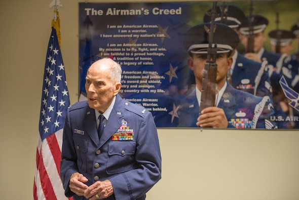 Retired Chief Warrant Officer 4 Francis Herbert delivers remarks during a room dedication ceremony in his honor in Cody Hall April 26, 2016, Keesler Air Force Base, Miss. The room was dedicated to him for his 50 years of service in air traffic control in the Army, Army Air Corps, and Air Force from 1942-1972 then as a Keesler civilian instructor for 20 years. (U.S. Air Force photo by Marie Floyd)