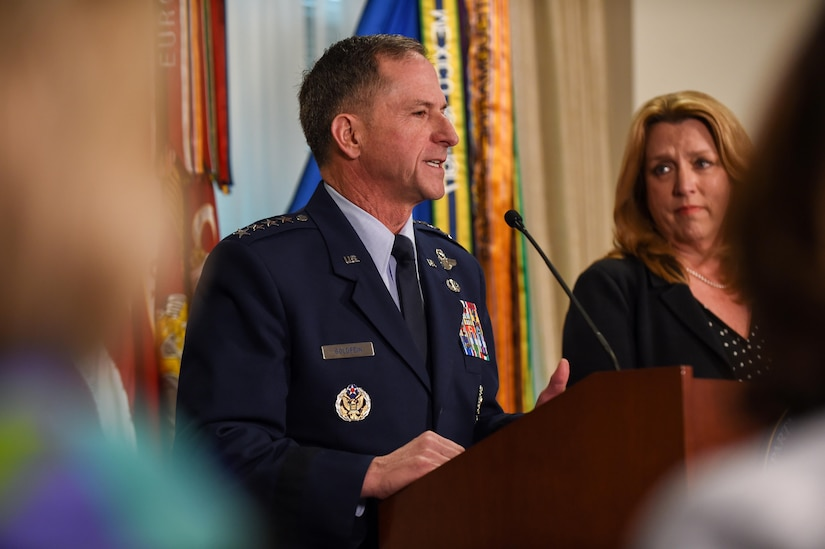 Air Force Vice Chief of Staff Gen. David L. Goldfein delivers remarks at a Pentagon ceremony April 29, 2016, following the announcement of his nomination as the next Air Force chief of staff. Air Force Secretary Deborah Lee James, right, participated in the event. DoD photo by Army Sgt. 1st Class Clydell Kinchen