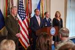Defense Secretary Ash Carter delivers remarks during an event introducing Air Force Vice Chief of Staff Gen. David L. Goldfein at the Pentagon April 29, 2016, following his nomination as Air Force chief of staff. Joining Carter are, from left, Marine Corps Gen. Joe Dunford, chairman of the Joint Chiefs of Staff; Goldfein; and Air Force Secretary Deborah Lee James. DoD photo by Army Sgt. 1st Class Clydell Kinchen