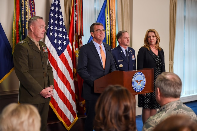 Defense Secretary Ash Carter delivers remarks during an event introducing Air Force Vice Chief of Staff Gen. David L. Goldfein at the Pentagon, April 29, 2016, following his nomination as the next Air Force chief of staff. Joining Carter are, from left, Marine Corps Gen. Joe Dunford, chairman of the Joint Chiefs of Staff; Goldfein; and Air Force Secretary Deborah Lee James. DoD photo by Army Sgt. 1st Class Clydell Kinchen