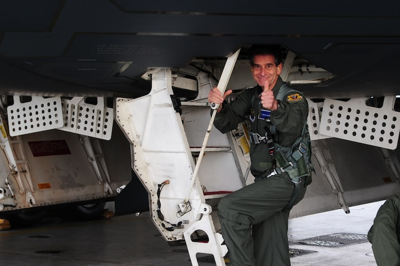 Dean Kamen, the FIRST Robotics founder, gives a thumbs up prior to boarding a B-2 Spirit for an incentive flight at Whiteman Air Force Base, Mo., April 26, 2016. The U.S. Air Force and FIRST Robotics share an interest in developing youth into future leaders through exposure to education in science, technology, engineering and mathematics. (U.S. Air Force photo by Airman 1st Class Keenan Berry)