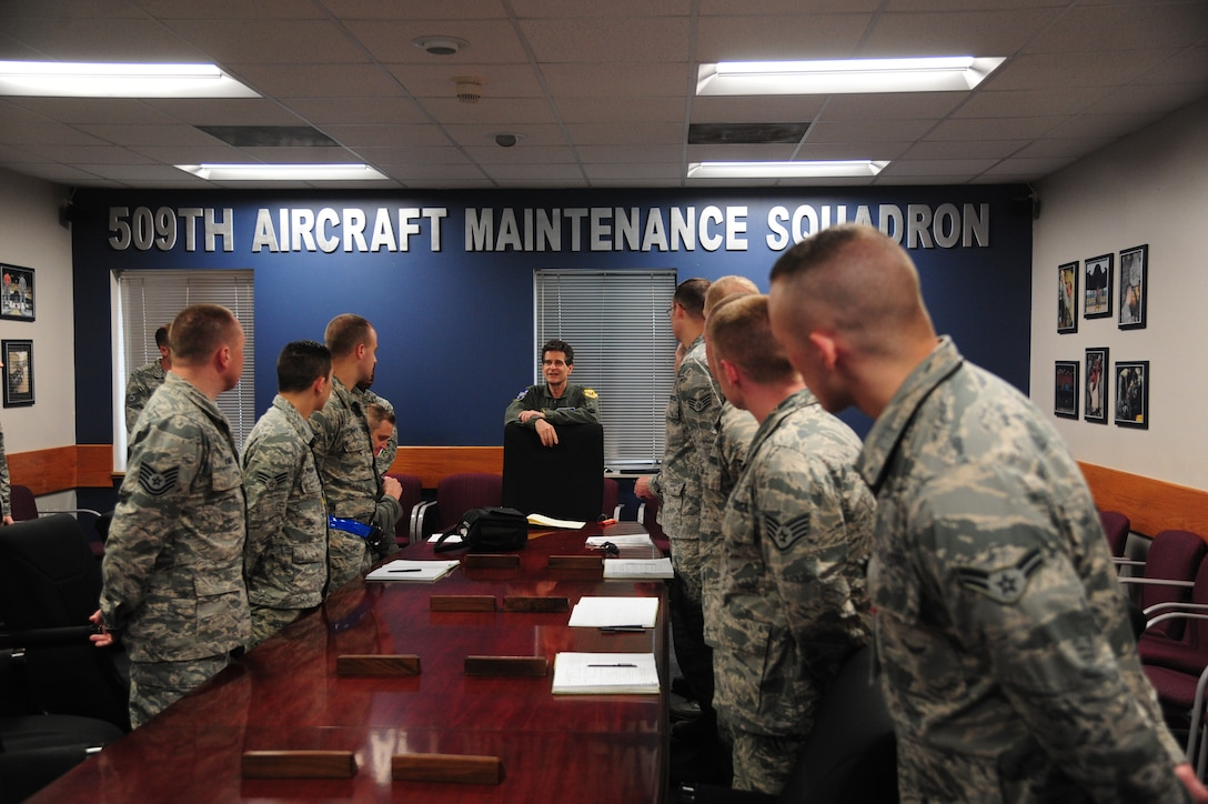 Dean Kamen, FIRST Robotics founder, speaks with Airmen from the 509th Aircraft Maintenance Squadron following an incentive flight in a B-2 Spirit at Whiteman Air Force Base, Mo., April 26, 2016. The U.S. Air Force and FIRST Robotics share an interest in developing youth into future leaders through exposure to education in science, technology, engineering and mathematics. (U.S. Air Force photo by Senior Airman Joel Pfiester)