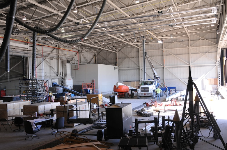 Aircraft Hangar 304 at the 171st Air Refueling Wing near Pittsburgh undergoes construction in preparation for the addition of a flight simulator April 15, 2016. (U.S. Air National Guard Photo by Staff Sgt. Ryan A. Conley)