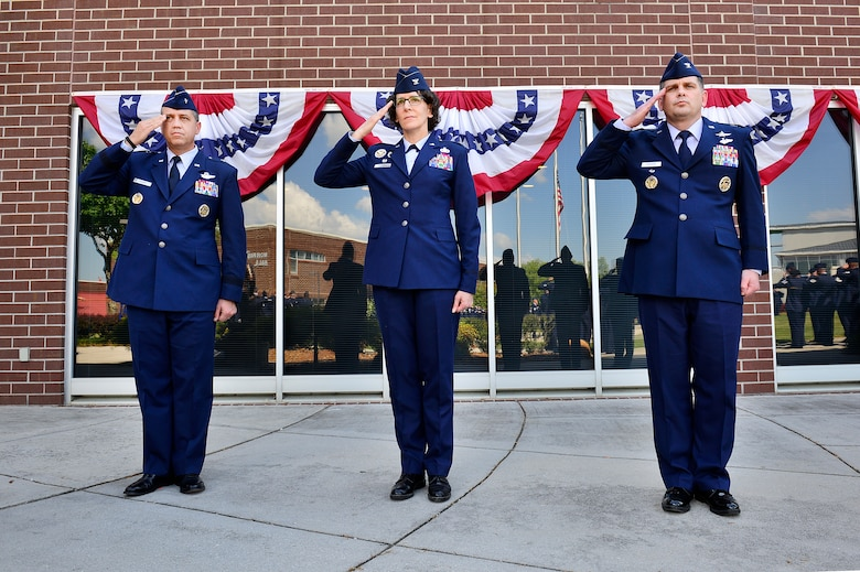 MCGHEE TYSON AIR NATIONAL GUARD BASE, Tenn. - From left, Brig. Gen. Michael R. Taheri, commander of the Air National Guard Readiness Center, Col. Jessica Meyeraan and Col. Kevin M. Donovan, salute during the retreat ceremony here, April 28, 2016, at the I.G. Brown Training and Education Center. Colonel Donovan took command of the TEC, April 29, from Meyeraan, who is reassigned as the chief of staff, joint staff, National Guard Bureau. (U.S. Air National Guard photo by Master Sgt. Jerry Harlan/Released)
