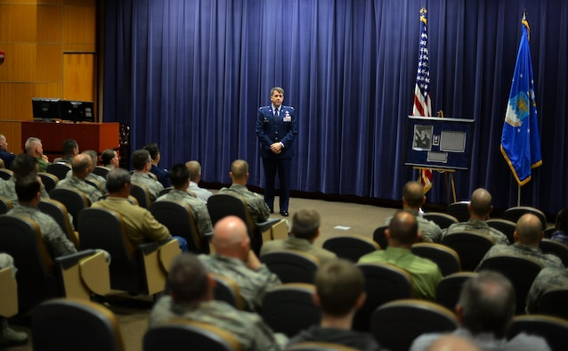 U.S. Air Force Col. Donald Shannon, 2nd Weather Group commander, speaks to weather professionals during a memorial ceremony in honor of U.S. Air Force Capt. Nathan Nylander at the 557th Weather Wing auditorium, Offutt Air Force Base, Neb., April 27, 2016.  Nyalnder was killed at Kabul International Airport on April 27, 2011. (U.S. Air Force photo by Josh Plueger)