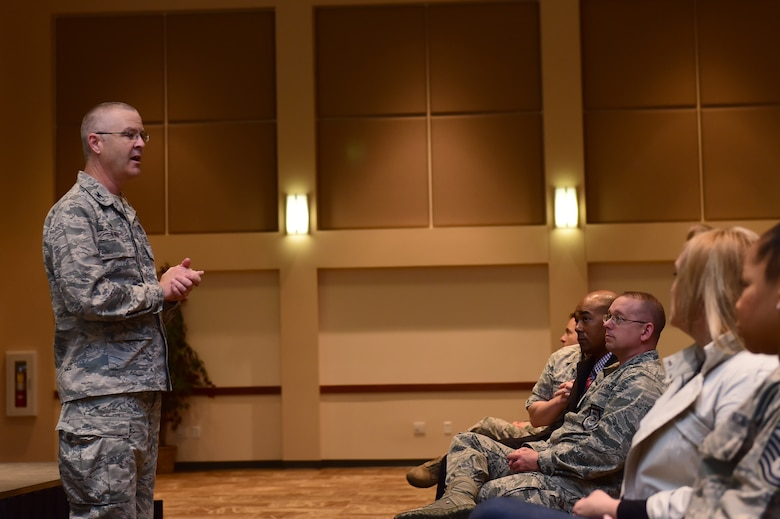 Col. Michael Kindt, 460th Medical Group commander, speaks about the improvements made to medical facilities on base April 28, 2016, at the Leadership Development Center on Buckley Air Force Base, Colo. Kindt addressed concerns regarding pharmaceutical refills, turnaround times and the upcoming dental facility. (U.S. Air Force photo by Airman 1st Class Luke W. Nowakowski/Released)