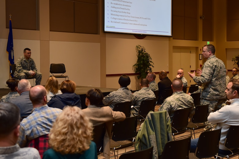 Lt. Col. Samuel Aston, 460th Logistics Readiness Squadron commander, answers questions regarding concerns and improvements during a town hall meeting April 28, 2016, at the Leadership Development Center on Buckley Air Force Base, Colo. Leaders from Buckley AFB met with base members to answer questions and provide information. (U.S. Air Force photo by Airman 1st Class Luke W. Nowakowski/Released)