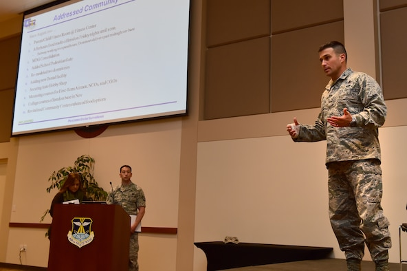Col. John Wagner, 460th Space Wing commander, addresses the audience during a town hall meeting April 28, 2016, at the Leadership Development Center on Buckley Air Force Base, Colo. Wagner, along with other base leaders, highlighted improvements made to the base and answered questions and concerns made by members of the base community. (U.S. Air Force photo by Airman 1st Class Luke W. Nowakowski/Released)