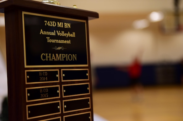 The 743d Military Intelligence Battalion annual volleyball tournament trophy is displayed April 28, 2016, at the Buckley Fitness Center on Buckley Air Force Base, Colo. The tournament was an event for the Commander's Cup, an inter-battalion competition consisting of approximately eight events. (U.S. Air Force photo by Airman 1st Class Gabrielle Spradling/Released)