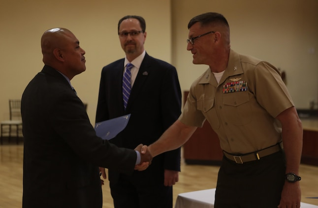 Camp Pendleton holds a graduation ceremony for 19 students who graduated the Warrior Training Advancement Course (WARTAC) at the Pacific Views Event Center, April 28, 2016. WARTAC is a program that was developed between the Department of Defense and Department of Veterans Affairs to train transitioning service members into becoming Veterans Service Representatives with Veterans Affairs. (Marine Corps Photo by Lance Cpl. Emmanuel)