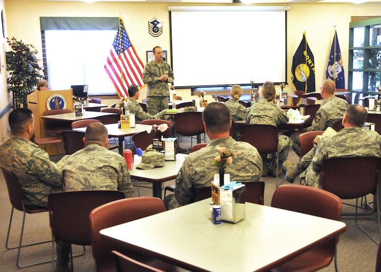 120th Airlift Wing Commander Col. Lee Smith discusses awards and decorations and continuing education during his second brown bag lunch seminar held at the 120th AW Dining Facility April 11, 2016. (U.S. Air National Guard photo by Senior Master Sgt. Eric Peterson)