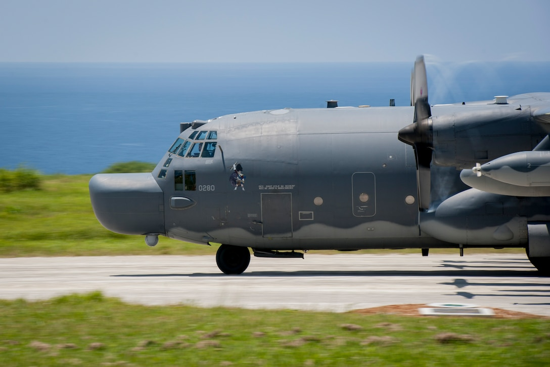A U.S. Air Force MC-130H Combat Talon II assigned to the 17th Special Operations Squadron, Kadena Air Base, takes off during a long-range airfield seizure exercise July 20, 2016, at Iejima airfield, Japan. The 17th SOS aircrews conducted the exercise with U.S. Marine Corps Golf and Fox Companies, 2nd Battalion, 2nd Marine Regiment assigned to Camp Lejeune, N.C., and the Marine Medium Tiltrotor Squadron 265 assigned to Marine Corps Air Station Futenma. (U.S. Air Force Photo by Senior Airman Peter Reft)