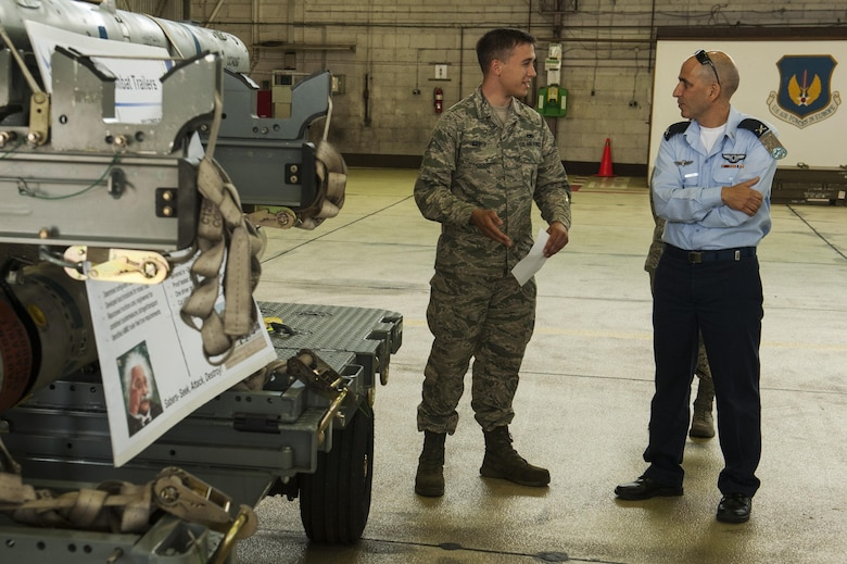 U.S. Air Force Senior Airman Alexander Kiefer, 52nd Maintenance Squadron precision guided munitions crew member, talks about the capabilities of the 52nd MXS supporting the F-16 Fighting Falcons to Brig. Gen. Tal Kelman, Israeli air force vice chief of staff, during his visit at Spangdahlem Air Base, Germany, July 27, 2016. Kelman's is visiting the base while attending the Air Senior National Representative forum, which works on enhancing IAF and USAF cooperation. (U.S. Air Force photo by Staff Sgt. Jonathan Snyder)