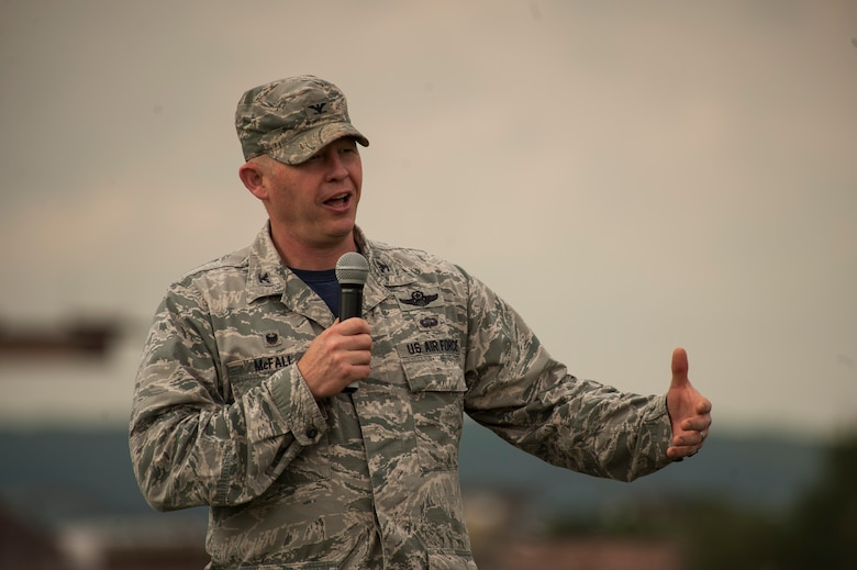U.S. Air Force Col. Joseph McFall, 52nd Fighter Wing commander, speaks at the opening ceremony of Relay For Life at Spangdahlem Air Base, Germany, July 29, 2016. Airmen and their families raised more than $12,000 for the American Cancer Society during this 24-hour relay event. (U.S. Air Force photo by Staff Sgt. Jonathan Snyder/Released)