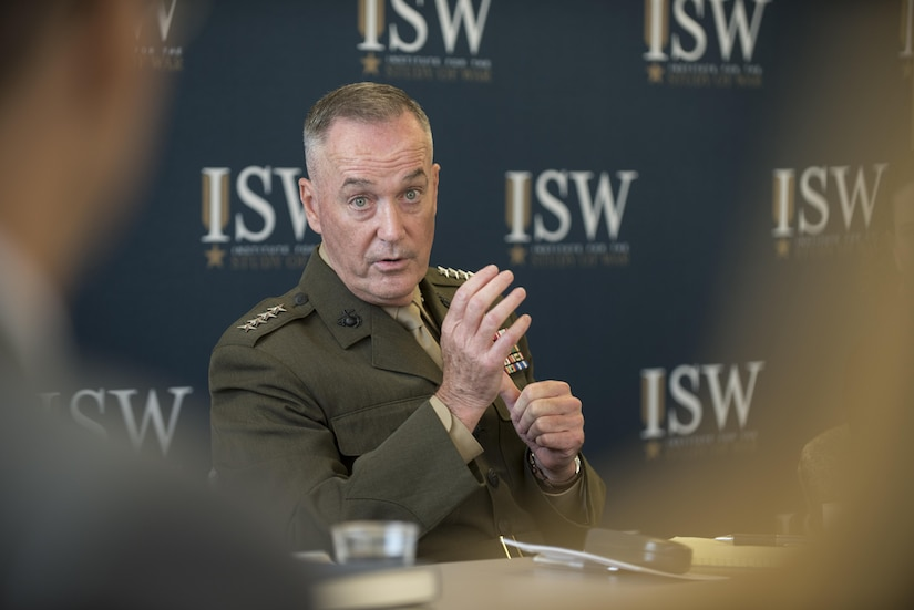 Marine Corps Gen. Joe Dunford, chairman of the Joint Chiefs of Staff, speaks to students of the Institute for the Study of War's Hertog War Studies Program in Washington, July 28, 2016. The program aims to educate advanced undergraduate students about the theory, practice, organization and control of war and military forces. One aspect of the profession of arms in the United States is an apolitical, nonpartisan military, the general said. DoD photo by Army Sgt. James K. McCann