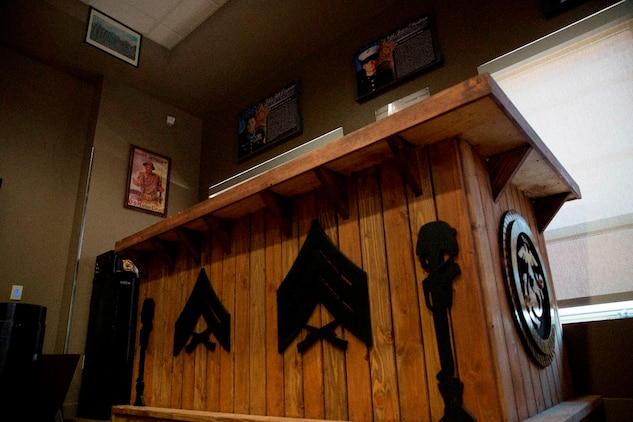 """The non-commissioned officers bar in the 7th Engineer Support Battalion, 1st Marine Logistics Group non-commissioned officer's lounge, """"Chapultepec's"""" on Camp Pendleton, Calif., July 29, 2016. The lounge was built by 7th ESB Marines to give NCOs a place to relax and share experiences. (U.S. Marines Corps photo by Lance Cpl. Kyle McNan/released)"""