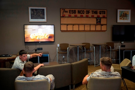 U.S. Marines from 7th Engineer Support Battalion, 1st Marine Logistics Group, unwind in Chapultepec's Lounge, in their barracks building aboard Camp Pendleton, Calif., July 29, 2016. The lounge was built to give non-commissioned officers a place to relax and share experiences. (U.S. Marines Corps photo by Lance Cpl. Kyle McNan/released)
