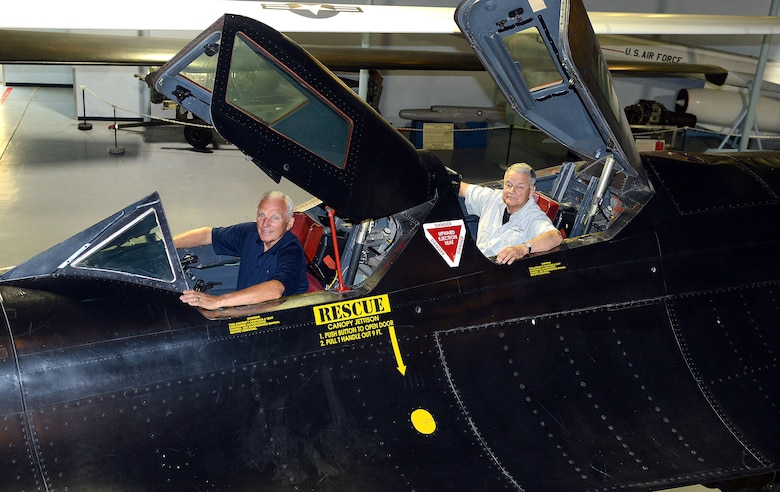 "Maj. Gen. Eldon ""Al"" Joersz, USAF pilot retired, front, and Lt. Col. George ""GT"" Morgan, USAF retired reconnaissance systems officer, sit inside the cockpit of the SR-71 aircraft they flew when setting the world absolute speed record for jet-powered aircraft on July 28, 1976. The two were at the Museum of Aviation in Warner Robins, Georgia for the 40th anniversary of the historic flight. (U.S. Air Force photo by Tommie Horton/Released)"