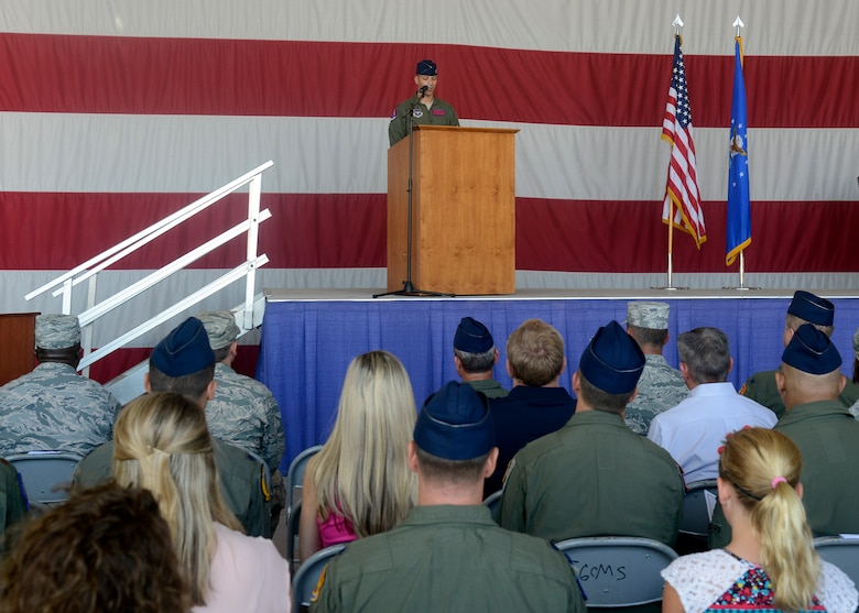 Lt. Col. Matthew Vedder, 63rd Fighter Squadron commander, speaks to thunderbolts after assuming command of the 63rd Fighter Squadron Aug. 1, 2016 at Luke Air Force Base, Ariz.  The 63rd FS is scheduled to begin accepting F-35 Lightning II jets in March 2017 and will be joined by partner nation Turkey. (U.S. Air Force photo by Senior Airman Devante Williams)