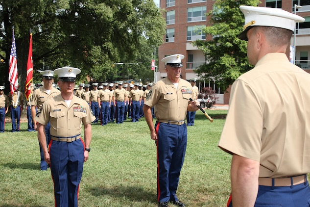 Sgt. Maj. Jim E. Lanham relinquished his post at Marine Corps Recruiting Station Raleigh to Sgt. Maj. Jonathan W. Clark during a relief and appointment ceremony June 30 at the North Carolina State University Memorial Bell Tower. Lanham is to report to Okinawa, Japan, as the 31st Marine Expeditionary Unit sergeant major. (U.S. Marine Corps photo by Sgt. Antonio J. Rubio/Released)