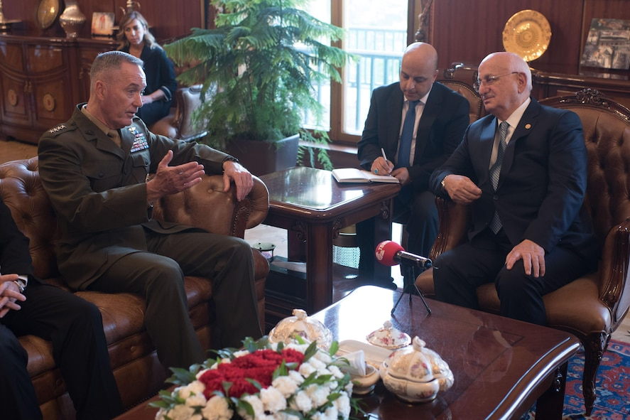 Marine Corps Gen. Joe Dunford, chairman of the Joint Chiefs of Staff, meets with Ismail Kahraman, speaker of the Turkish Grand National Assembly