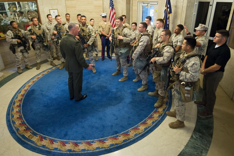 Marine Corps Gen. Joe Dunford, chairman of the Joint Chiefs of Staff, meets with Marines assigned to the Marine Corps Embassy Security Group