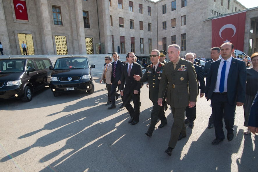 Marine Corps Gen. Joe Dunford, chairman of the Joint Chiefs of Staff, tours the Turkish Grand National Assembly with Gen. Hulusi Akar, chief of the Turkish General Staff