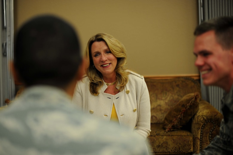 Secretary of the Air Force Deborah Lee James speaks with Airmen, July 29, 2016, at McConnell Air Force Base, Kan. During her visit to the base, James interacted with Airmen in several different ways, one of which was her first speed mentoring session, where she had two-way conversations with small groups of Airmen. (U.S. Air Force photo/Airman 1st Class Jenna K. Caldwell)