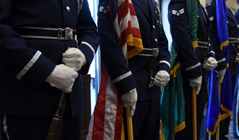 The Fairchild Air Force Base Honor Guard presented the colors during the Senior NCO Recognition Ceremony at the Red Morgan Center July 29. The Senior NCO Recognition Ceremony is held annually to recognize those technical sergeants selected for promotion into the senior NCO tier. (U.S. Air Force photo/Airman 1st Class Mackenzie Richardson)