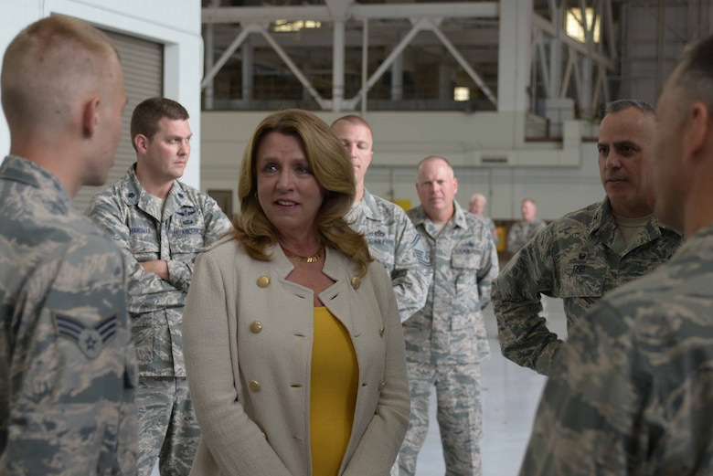 Secretary of the Air Force Deborah Lee James speaks with Airmen, July 29, 2016, at McConnell Air Force Base, Kan. A meet and greet with maintenance personnel was one of James' first stops during her visit to McConnell. (U.S. Air Force photo/Airman 1st Class Christopher Thornbury)