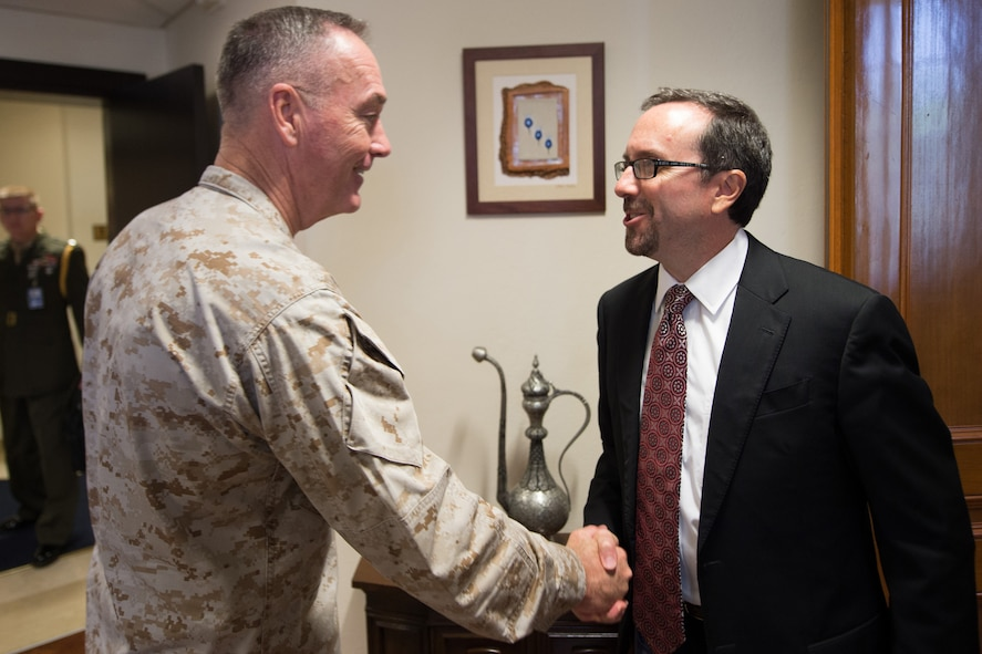 Marine Corps Gen. Joe Dunford, chairman of the Joint Chiefs of Staff, meets with U.S. Ambassador to Turkey John R. Bass at the U.S. Embassy in Ankara, Turkey.