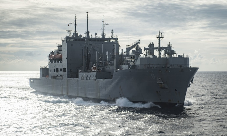 Dry cargo ship USNS Matthew Perry (T-AKE 9), prepares to come alongside hospital ship USNS Mercy (T-AH 19) for a replenishment-at-sea. Mercy, which is deployed in support of Pacific Partnership 2016, is en route to its fourth mission stop in Kuantan, Malaysia. Upon arrival, partner nations will work side-by-side with local military and non-government organizations to conduct cooperative health engagements, community relation events and subject matter expert exchanges to better prepare for a natural disaster or crisis