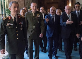 Marine Corps Gen. Joseph F. Dunford Jr., chairman of the Joint Chiefs of Staff, meets with Ismail Kahraman, speaker of Turkey's Grand National Assembly, in Ankara, Turkey, Aug. 1, 2016. During his visit to Ankara, the chairman also met with Turkish Prime Minister Binali Yildirim and Gen. Hulusi Akar, chief of the Turkish General Staff. DoD photo by Navy Petty Officer 2nd Class Dominique A. Pineiro