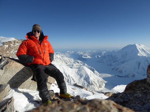 U.S. Air Force 1st. Lt. Andrew Heard, the 354th Contracting Squadron services and commodities flight commander, takes a break from climbing Denali, in Interior Alaska on July 29, 2016. At 20,308 feet above sea level, Denali is the tallest mountain in North America. (U.S. Air Force photo by 1st. Lt. Andrew Heard)