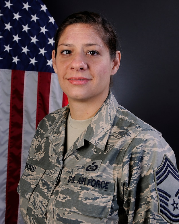 Portrait of U.S. Air Force Chief Master Sgt. Carmen Harkins, superintendent of the command post for the 169th Fighter Wing at McEntire Joint National Guard Base, S.C., July 28, 2016. (U.S. Air National Guard photo by Airman 1st Class Megan Floyd)