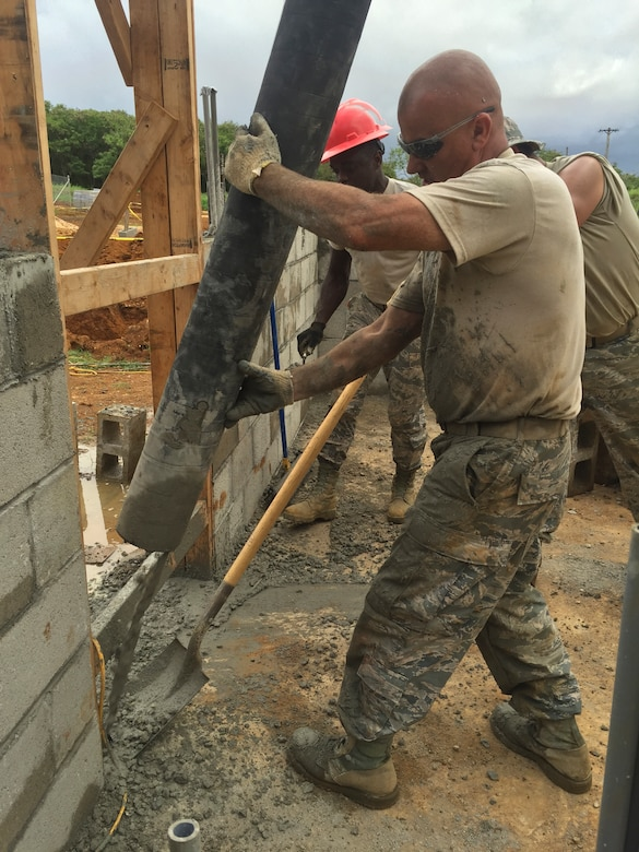 Members of the 102nd Civil Engineer Squadron traveled to the island of Guam as part of the Innovative Readiness Training Program Habitat for Humanity project.  Assisting in the construction of two homes, the team spent two weeks deployed to the U.S. Territory honing their construction skills while simultaneously contributing to the welfare and needs of the Guam community.