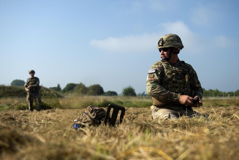 U.S. Air Force Tech. Sgt. Ryan Tennyson, 52nd Civil Engineer Squadron explosive ordnance disposal team leader, right, and Senior Airman Douglas Wilkens, 52nd CES EOD team member, left, work together to find simulated improvised explosive devices during an IED Rodeo exercise at Spangdahlem Air Base, Germany, July 27, 2016. This multilateral exercise focused on locating and disarming improvised explosive devices which involved EOD members from the U.S., Czech Republic, Germany and Belgium. (U.S. Air Force photo by Airman 1st Class Preston L. Cherry/Realeased)