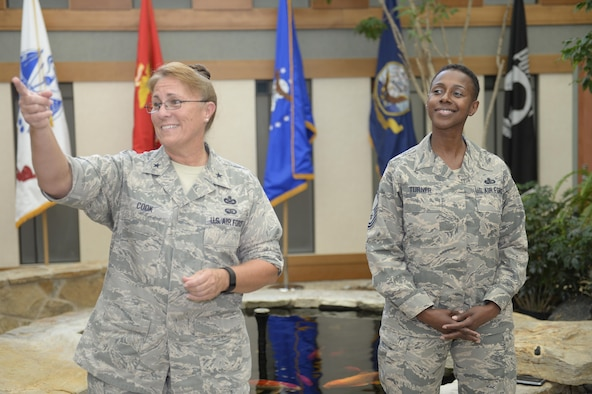 Brig. Gen. Kathleen A. Cook, Headquarters U.S. Air Force director of services and Chief Master Sgt. Kimberly Turner, chief enlisted manager for the services career field, visited Air Force Mortuary Affairs Operations at Dover Air Force Base, Del., July 27, 2016, to view the unique challenges faced by services airmen stationed there supporting mortuary operations. (U.S. Air Force photo/Tech. Sgt. Scott Johnson)