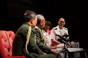 Navy Vice Adm. Raquel C. Bono, second from right, director of the Defense Health Agency; and Navy Rear Adm. Brian S. Pecha, right, U.S. Pacific Command chief surgeon, listen to Gen. Tan Sri Dato' Sri (Dr) Zulkifeli bin Mohd Zin, second from left, Malaysia's Chief of Defense, during a press conference at the opening ceremony of the 2016 Asia Pacific Military Health Exchange at Kuantan, Malaysia, Aug. 1, 2016. DoD photo by Air Force Master Sgt. Todd Kabalan