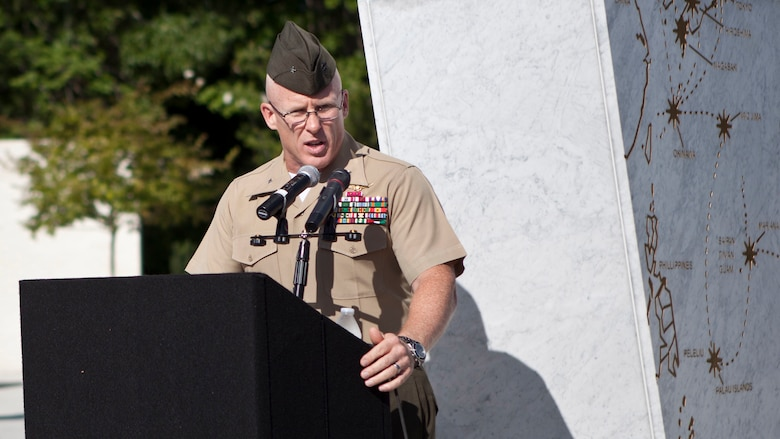 U.S. Marine Corps Brig. Gen. Thomas Weidley, commander of Marine Corps Installation-East, addresses guests during the Montford Point Marine Memorial dedication ceremony held at Jacksonville, North Carolina, July 29, 2016. The memorial was built in honor of the 20,000 African-Americans who attended training at Montford Point.