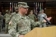 Brig. Gen. Hector Lopez addresses the 94th Training Division (Force Sustainment) for the first time as their incoming commander during a change of command ceremony in Dodge Hall at Fort Lee, Va. on July 23, 2016.  Outgoing commander Brig. Gen. Steven Ainsworth also spoke after officially relinquishing command of the 94th. The 94th provides world class training in the career management fields of Ordnance, Transportation, Quartermaster, and Human Resources, ensuring all service members are properly trained, fed, supplied, and maintained.