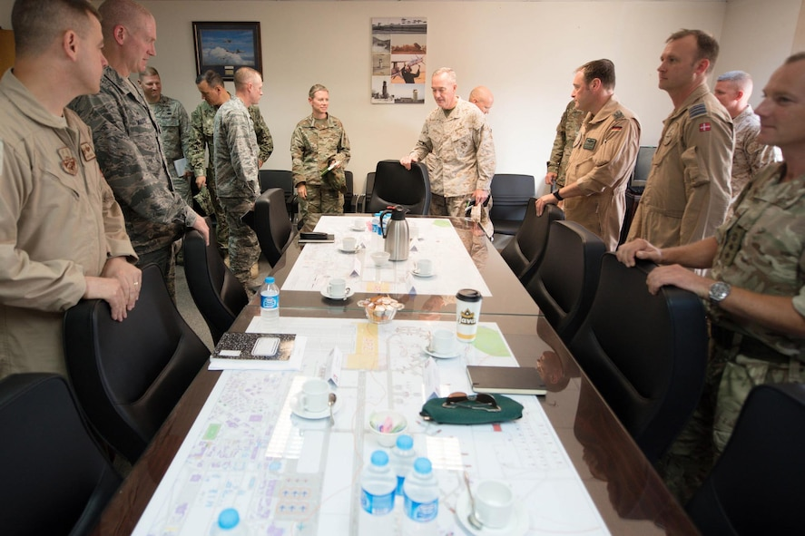 Marine Corps Gen. Joe Dunford, center right, chairman of the Joint Chiefs of Staff, attends a NATO roundtable at Incirlik Air Base.