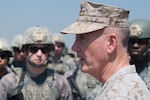 Marine Corps Gen. Joe Dunford, chairman of the Joint Chiefs of Staff, talks to airmen following a field exercise at Incirlik Air Base, Turkey, Aug. 2, 2016. The airmen are assigned to the 39th Security Forces Squadron base defense operations center. DoD photo by Navy Petty Officer 2nd Class Dominique A. Pineiro
