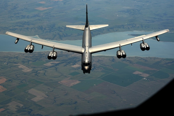 A B-52 Stratofortress soars above Minnesota enroute to Polar Roar, July, 31, 2016. Polar Roar is a mission held in the Arctic Circle that demonstrates flexible and vigilant long-range global-strike capability. (U.S. Air Force photo/Airman 1st Class Christopher Thornbury)