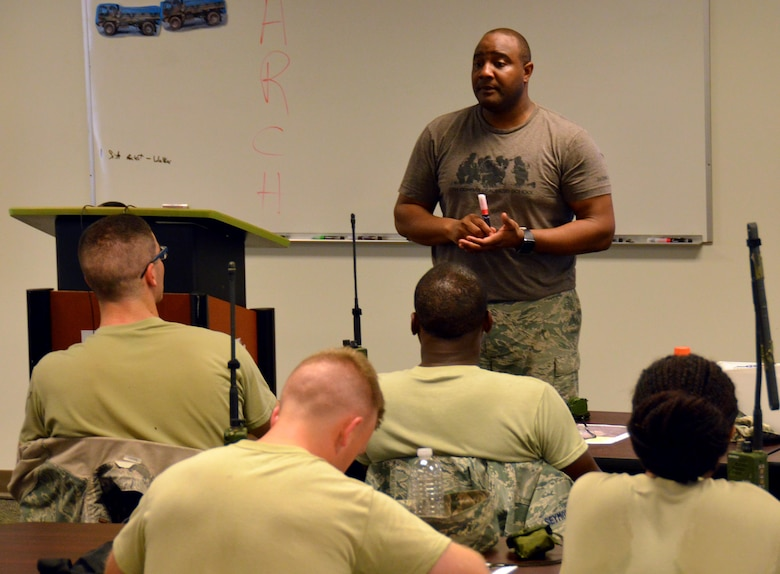 Instructor and Independent Duty Medical Technician, Tech. Sgt. Alfonte Thomas, 5th Combat Communications Squadron Support, provides self-aid buddy care classroom instruction to twenty-five chaplain candidates at Robins Air Force Base, Georgia, July 25, 2016. The candidates are participants in the Air Force Reserve Command Chaplain Candidate Intensive Interview program which aims to provide an extensive overview of what the Air Force Reserve mission is as well as a broad overview of the military chaplain corps.(U.S. Air Force photo/Tech. Sgt. Kelly Goonan)