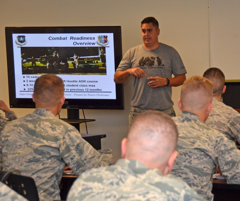 Instructor Tech. Sgt, Ryan Petersen, 5th Comabat Communications Squadron Support, gives combat readiness training to twenty-five 2nd Lieutenants at Robins Air Force Base, Georgia, July 25, 2016. Chaplain candidates and members of the Catholic church attend Sunday morning worship in the base chapel at Robins Air Force Base, Georgia, July 25, 2016. The candidates are participating in the Air Force Reserve Command Chaplain Candidate Intensive Interview program which aims to provide an extensive overview of what the Air Force Reserve mission is as well as a broad overview of the military chaplain corps. During the last week of the program, the candidates were immersed in fast-paced mobility training conducted by active-duty instructors from the 5th Combat Communications Squadron Support. (U.S. Air Force photo/Tech. Sgt. Kelly Goonan)